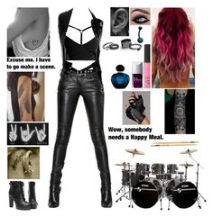 """""""The Beautiful Unknown ~ Drummer ~ Band Tag"""" by blueknight ❤ liked on Polyvore featuring Balmain, Comme des Garçons, Pura Vida, NARS Cosmetics, Christian Dior, Free People and Karl Lagerfeld"""