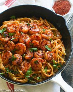 Blackened Shrimp and Pasta by africanbites #Shrimp #Pasta