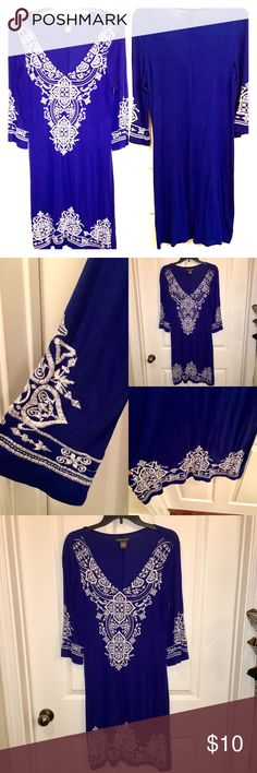Chelsea & Theodore royal blue embroidered dress Size small. Royal blue embroidered dress. So pretty in person . Worn once and everyone stopped me to ask where I got it. It's a small but stretch so easily fits medium as well. Material is soft and feels great. High quality dress and catches so many eyes. chelsea and theodore Dresses Midi