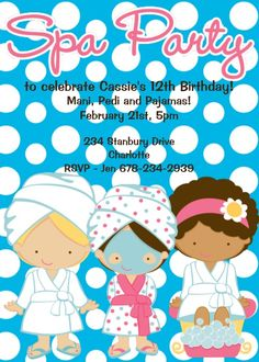 Spa Birthday Invitation Spa Party Invitations Printable or Printed