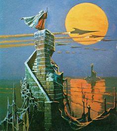 "retroscifiart: ""The Day of Their Return by Poul Anderson (Corgi, Art by Bruce Pennington "" Space Fantasy, Fantasy Art, Illustrations, Illustration Art, 70s Sci Fi Art, Arte Tribal, Soul Art, Science Fiction Art, Environment Concept Art"