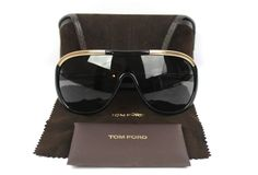 Tom Ford Black & Gold Trim Aviator Shield Farrah Sunglasses TF10 Retail $250 #TomFord #Designer