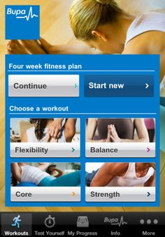 Bupa Fitness App for iphone/ipad. Test 4 areas of your fitness, then begin a 4 week program to improve on those areas.