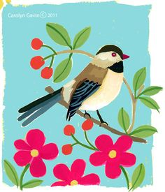 Bird painted by Lilla Rogers studio artist Carolyn Gavin