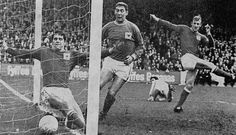 26th October 1968. Nottingham Forest defence contrives to put Manchester City's Neil Young shot in to their own goal. The ball had hit Peter Hindley on the chest and sent goalkeeper Gordon Marshall the wrong way as he desperately dived to keep the ball from going over the line. John Winfield appears to be kicking fresh air in anger.