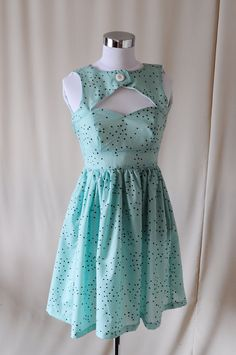 Mint Chocolate Chip Sweet Heart Neckline Dress - Peek-A-Boo Key Hole - Cut Out - S. $90.00, via Etsy.