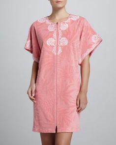 Oscar de la Renta Textured Oasis Short Robe