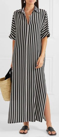 black striped turn-down collar half sleeve summer dress black striped turn-down collar half sleeve summer dress Black Dress Outfits, Summer Dress Outfits, Casual Dresses, Fashion Dresses, Dress Black, Summer Dresses For Women, Striped Summer Dresses, Linen Dresses, Shirt Dress