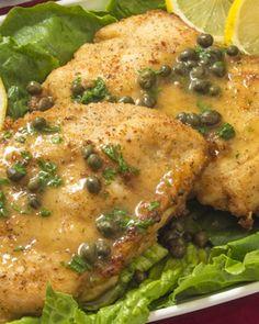 Chicken Piccata With Bread Salad Recipe Pollo Piccata, Chicken Piccata, Brunch Recipes, Wine Recipes, Cooking Recipes, Healthy Recipes, Skinny Recipes, Coconut Curry Chicken Soup, Cena Light