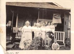 Photograph Snapshot Vintage Black & White: Family House Front Boys 1920's