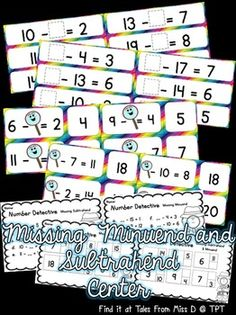 Your students will develop their ability to work out the missing minuend and subtrahend with this math center! Included in this pack; 45 Wipe and Write cards 28 Matching cards 4 Worksheets Teaching Tips, Teaching Math, Maths, Teacher Resources, Teacher Pay Teachers, Miss D, Matching Cards, Learning Environments, Math Classroom
