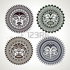 Set of polynesian tattoo styled masks Vector illustration Stock Photo - 19334239