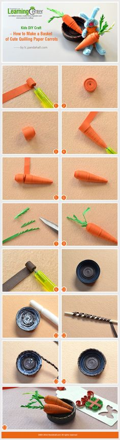 Kids DIY Craft – How to Make a Basket of Cute Quilling Paper Carrots from LC.Pandahall.com