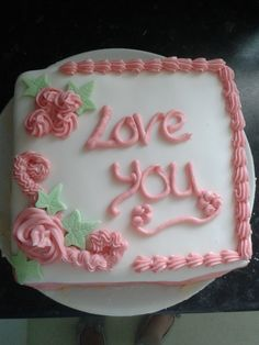 I made this cake for my mum and dad just to say 'Love you' :) (and practice my butter cream decorationg)