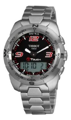 Tissot Mens T-Touch Expert Stainless Steel Black Dial Watch Tissot T Touch, Discount Watches, Amazon New, Stainless Steel Bracelet, Casio Watch, Digital Watch, Computer Accessories, Chronograph, Cool Things To Buy