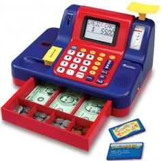 Toy Cash Register Teaching Toy - Educational Toys Planet. Great gift for 3 years old child. With its lights, sounds and messages the talking teaching cash register by Learning Resources makes every business transaction fun for your child. Develops Skills - pretend play, numbers, math, money. #toys #learning #educational #gifts #child https://www.educationaltoysplanet.com/teaching-cash-register.html