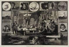 Charles Stanley Reinhart (American, 1844-1896) The Tile Club at Work, 1879 Etching on paper, 16 x 22-1/2 in. Museum Purchase.  2001.6.2