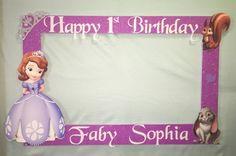 Marco de cabina de fotos para tomar fotos Sofía el primer cumpleaños