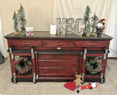 Red Barn indoor dog kennel.  Barn doors, drawers!  Perfect as a credenza, entry table, buffet table.  Beautifully handcrafted dog kennel.  No more wire crates!  Dog lovers tell your friends!  Distressed old red barn!