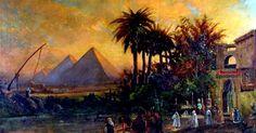 Egypt , Old Cairo Paintings: Carl Wuttke (German, 1849-1927) - Pyramid Scene