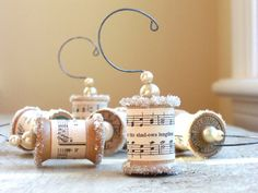 Ornaments from vintage sheet music and spools