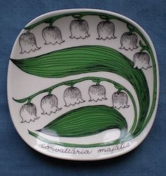 Arabia Mini Plate Series. Lily of the Valley. Design Esteri Tomula.