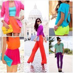 Bloques de color en tonos brillantes y neón