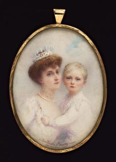 Gertrude Massey, A double portrait of H.R.H. Princess Maud of Norway (1869–1938) with her son Crown Prince Olav (1903-91), she wears jewelled tiara, pearl necklace and jewelled choker