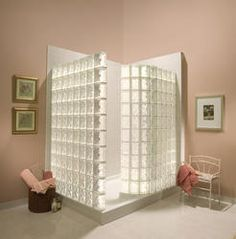 White Glass Block Walk-In Shower w/Acrylic Base (DECORA® Pattern Block)