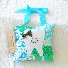 Girls Tooth Fairy Pillow in Deep Teal, Green and White Amy Butler Patchwork Print