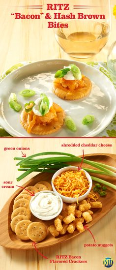 """Mother's Day snacks should be decadent and delicious. These RITZ cracker """"Bacon"""" & Hash Brown Bites are a tasty and cheesy appetizer idea to serve mom before the main course! Top Bacon flavored RITZ crackers with a bite-sized potato nugget and shredded cheddar cheese. Melt the cheese, top with sour cream, green onions, and enjoy! Add any of your favorite toppings, like ketchup or chopped jalapeños, to give it your own twist. Life's Rich."""