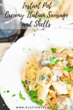 Italian sausage recipe with a blend of spinach, artichoke hearts, and cherry tomatoes bathed in a creamy bed of pasta shells from the Instant Pot. Make this one-pot wonder in under 30 minutes for an easy family meal, from Platter Talk. Instant Pot Pressure Cooker, Pressure Cooker Recipes, Slow Cooker, Pasta Recipes, Beef Recipes, Skillet Recipes, Spinach Recipes, Rice Recipes, Vegan Recipes