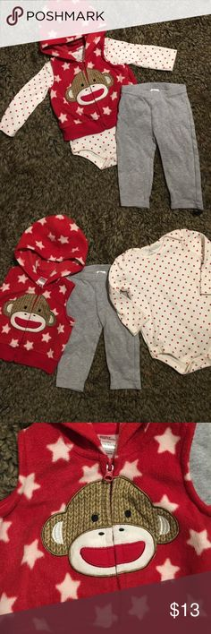 3-piece Neutral Gender Set My daughter never wore this and it is adorable!! Long sleeve onsie is white with red stars, leggings are all grey (come with set), vest is amazing and so so soft 👌🏼 Baby Starters Matching Sets