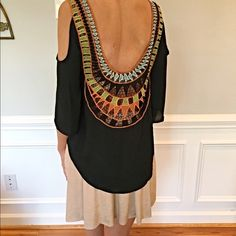 Stunning crochet detail cold shoulder blouse Drapes beautifully- burnt orange - light blue and yellow design one of my favorites!! Tops Blouses
