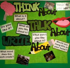 Think Talk Write about Art With Mr. E: Art Room Bulletin Boards & Displays 2011 : Part 2 Class Bulletin Boards, Reading Bulletin Boards, Bulletin Board Display, Bullentin Boards, Display Boards, Display Ideas, Middle School Art, Beginning Of School, Art School
