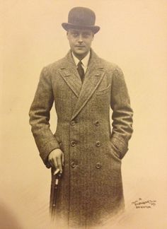 Edward VIII with a tailored coat, walking stick, and bowler hat.