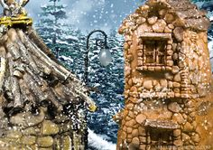 The snow falls on tiny fairy houses in the fairy garden.