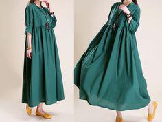 Women Long Sleeve Fall Shift Dress Maxi Long Skirt
