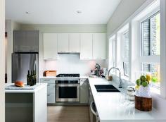 Modern and minimalist white kitchen.