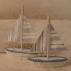 Set of 2 Blue and White Sailing boats with Striped Sails Wooden carved - Ideal for Nautical themed room Bathroom , By the sea side or Sailors gift ! Boat x2: Amazon.co.uk: Kitchen & Home