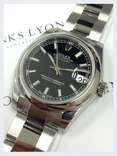 Rolex DateJust Black Dial Steel Watch