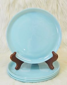 "Turquoise Blue, Milk Glass. 9"" Luncheon/Dinner Plates. Vintage Fire King