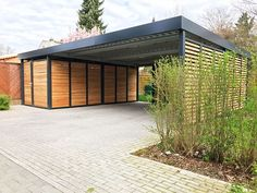 Your new carport made of steel, MADE IN GERMANY and with a 10 year factory guarantee. - Your new carport made of steel, MADE IN GERMANY and with a 10 year factory guarantee. Metal Barn Homes, Metal Building Homes, Pole Barn Homes, Building A House, Carport Designs, Garage Design, House Design, Carport Modern, Carport With Storage