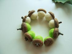 8 Felt Acorns, Felt Ball Acorn Ornaments, Felted Acorns, Pom Pom Christmas Ornaments, Fall Decor Autumn, Gift Wrap, Thanksgiving Decor  I have hand picked each one of these gorgeous acorns and they come directly from the Bulgarian woodland! They are in assorted fall colors and perfect for a rustic home decor. Place them in a bowl or just arrange them on your shelves - they are going to fit perfectly :)  Size: ****** > These acorns are approximately 1 to 1.5 inches > This listing is for 8…