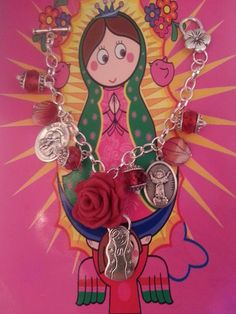 Virgen Mary Virgencita Plis Religious Catholic Saints Charm Bracelet  $8.98 Bid