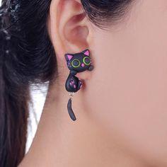 Handmade Purple Ear Cute Cat Stud Earring Fashion Jewelry Polymer Clay Cartoon