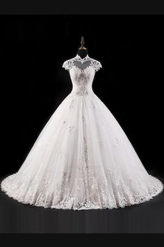 Cheap gown wedding, Buy Quality ball gown wedding dresses directly from China plus wedding dress Suppliers: Jark Tozr Custom Made High Neck Cap Sleeve Beaded Crystal Appliques Princess Ball Gown Wedding Dress Plus Size 2017 Trouwjurk Plus Wedding Dresses, Western Wedding Dresses, Cheap Wedding Dress, Bridal Dresses, Wedding Gowns, Lace Wedding, Wedding Cakes, Sheath Wedding Gown, Backless Wedding