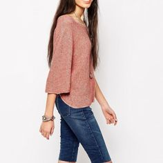 NWT Free People Pullover Marl infused with linen and cotton is fashioned into a boxy sweater styled with roomy elbow sleeves and a tantalizing split back. Color is washed tomato. Also comes in black. No trades. Generous discount with bundle. Offers welcome. Free People Sweaters