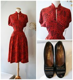 Vintage 1940's Dress // 40's Red Rayon Novelty by xtabayvintage, $248.00