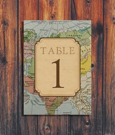 Rustic Vintage Travel Theme Wedding Table Numbers by ConteurCo